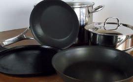 Cast iron griddle, nonstick frying pan and a 3-quart and 12-quart pot.