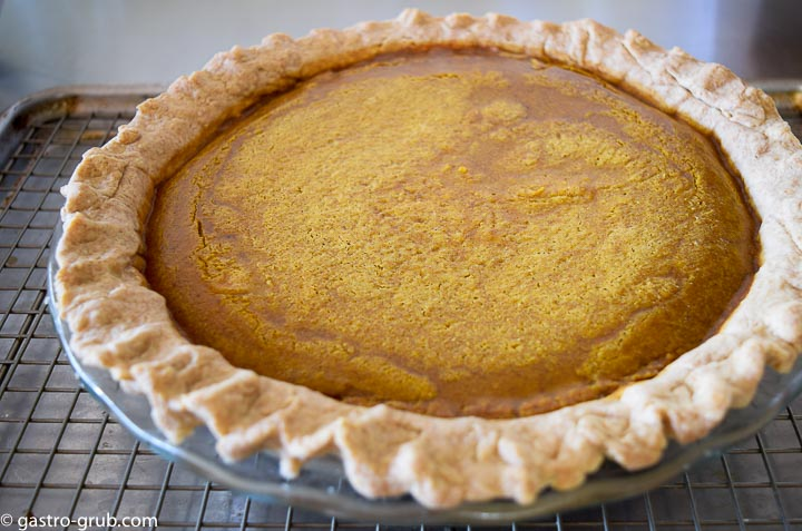 Pumpkin pie right out of the oven.