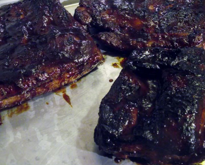 Barbecue pork ribs, hot off the grill.