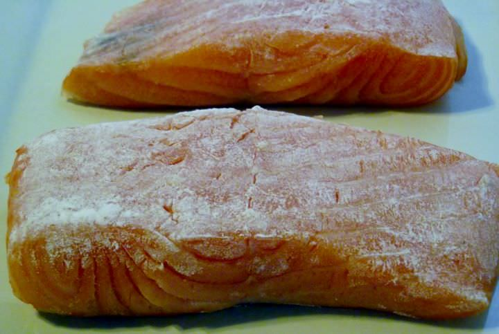 Salmon dredged in flour.