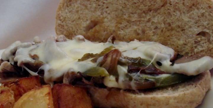 Cheese steak sandwich, up close.