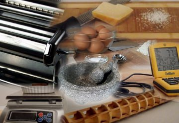 Collage of kitchen tools.