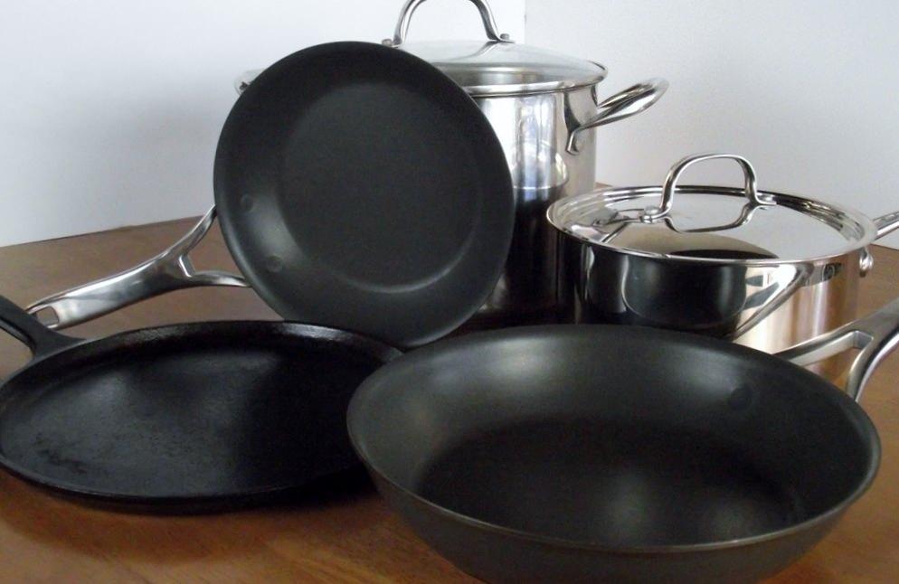 Kitchen pots and pans.