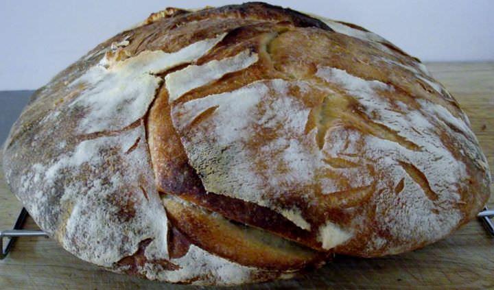Sourdough bread round.