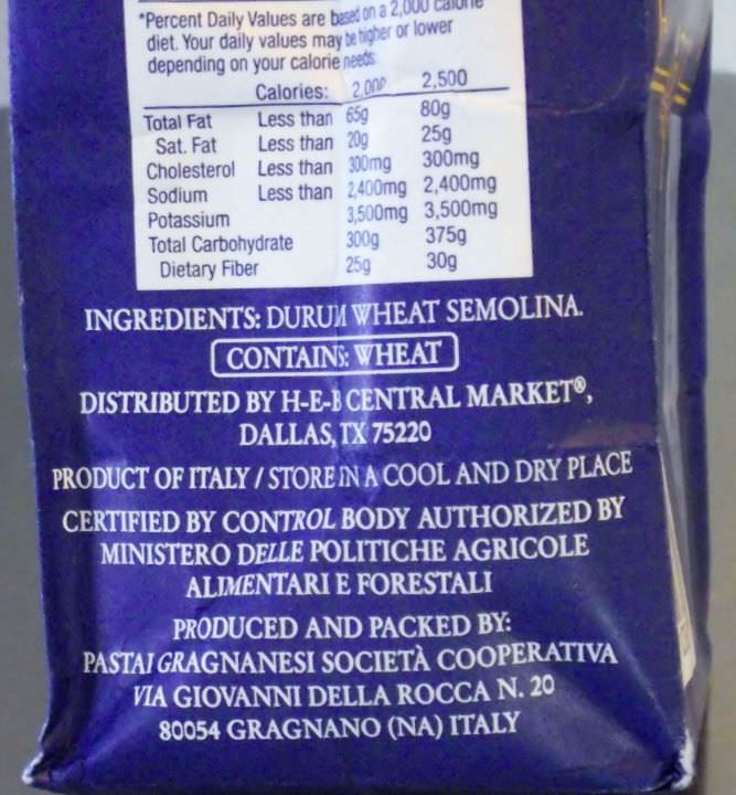 Imported pasta packaging, showing address of producer.