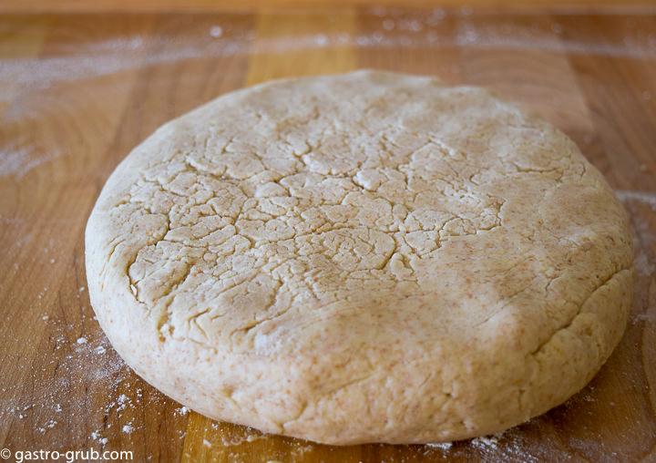 Shortcake dough formed into a disc.