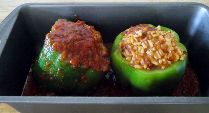 Building the stuffed bell peppers.