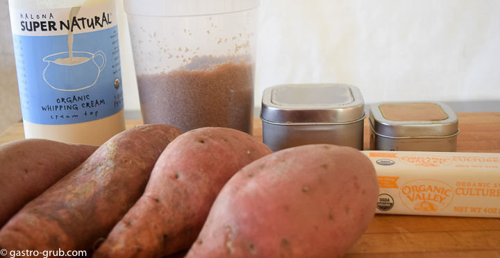 Ingredients for mashed sweet potatoes: Sweet potatoes, butter, cream, brown sugar, cinnamon, and nutmeg.
