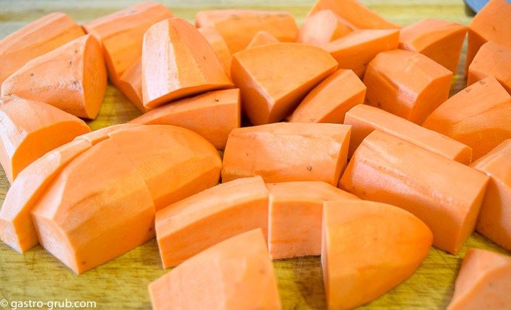 Sweet potatoes cut into equal size chunks.