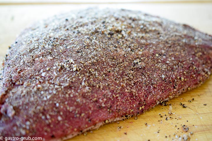 Tri tip rubbed with the cure liberally all over the roast.