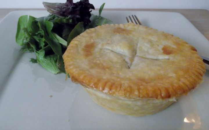 Chicken pot pie and mixed green salad.