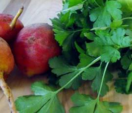 Raw golden beets and fresh parsley.