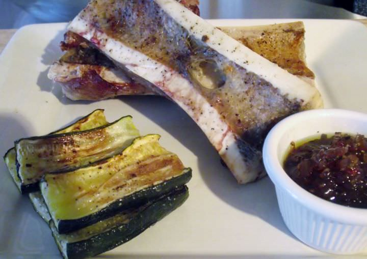 Roasted bone marrow, zucchini, and red onion marmalade.
