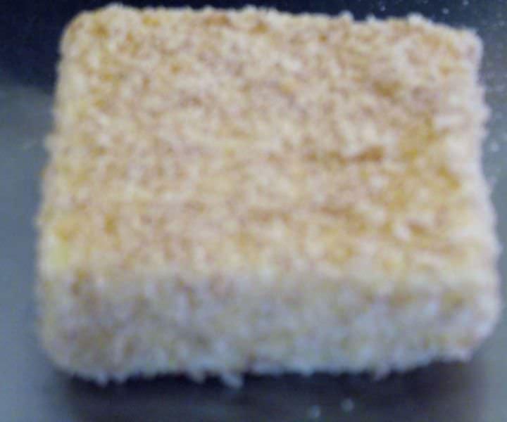 Breaded polenta square.