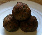 Meatballs on a plate.
