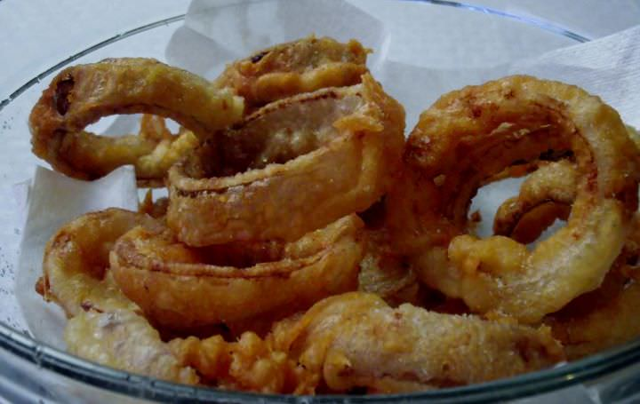 Beer battered onion rings.