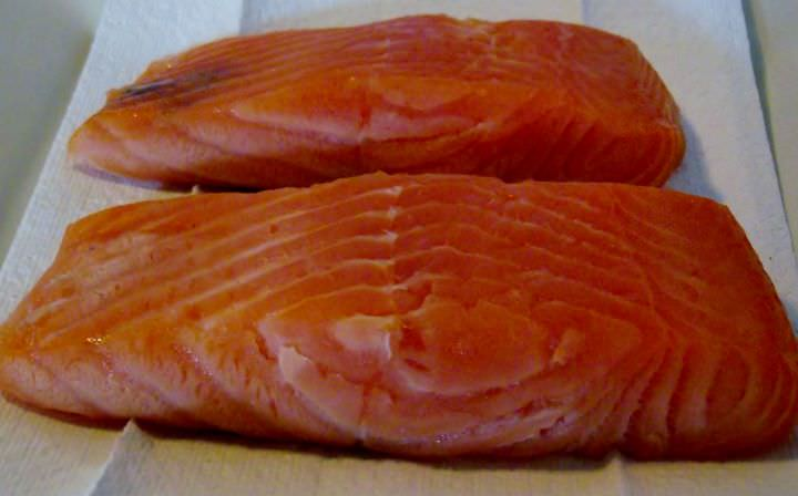 Brined and air dried salmon fillets.