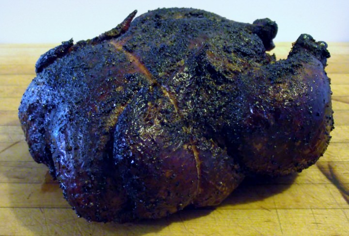 Whole smoked chicken.